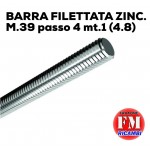 Barra filettata ZINC. M.39 passo 4  mt.1 (4.8)