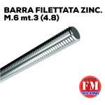 Barra filettata ZINC. M.6 mt.3 (4.8)