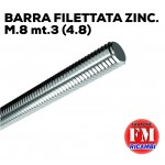 Barra filettata ZINC. M.8 mt.3 (4.8)