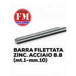 Barra filettata ZINC. ACCIAIO 8.8 (mt.1-mm.10)