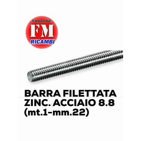 Barra filettata ZINC. ACCIAIO 8.8 (mt.1-mm.22)