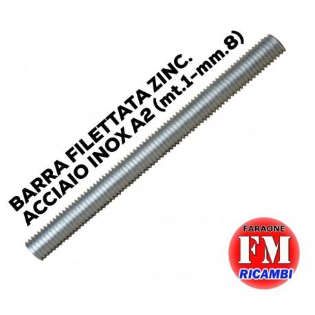 Barra filettata ZINC. ACCIAO INOX A2 (mt.1-mm.8)