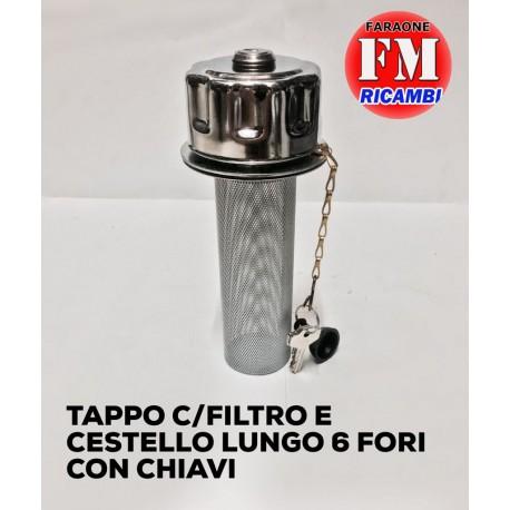 Tappo con filtro e cestello lungo 6 fori con chiavi